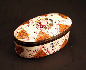 18th-century English Enamel Floral Box