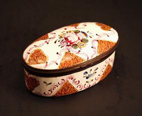 18th-century English Enamel Floral Box