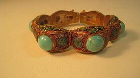 Chinese Enamel Silver Filigree Turquoise Bracelet