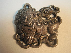 Late 19th C. Chinese Silver Fu dog / Shi Shi