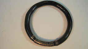 Very Old Chinese Silver and Black Rattan Bangle