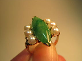 Vintage Chinese Jadeite Marquise Cut With Pearls