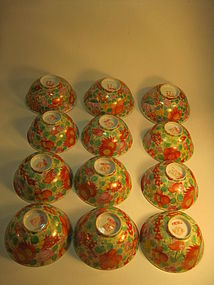 Group of  12 Chinese Famille Rose Flower Porcelain Bowl