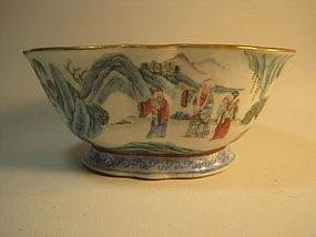19th C. Tongzhi Famille Rose Chinese Porcealian Bowl