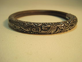 19th C. Chinese Silver and Rattan Bangle with Dragon