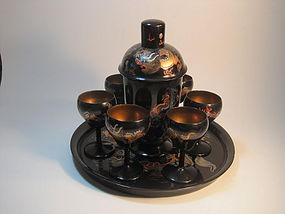 Early 20th C. Chinese Lacquer Cocktail set with Tray