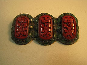 Early 20th C. Chinese Cinnabar Enamel Brooch