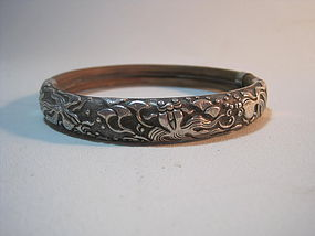 A Beautiful Early 20th C. Chinese Rattan Silver Bangle
