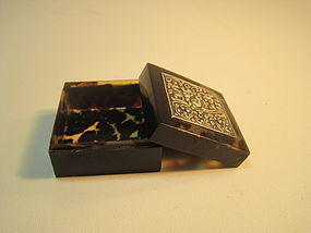 Late 19th C. Chinese Silver And Tortoise Shell Box