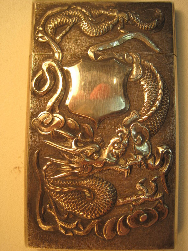A Beautiful Chinese 19th C. Silver Dragon Card Case