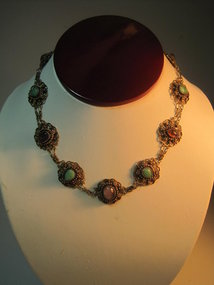 Old Chinese Silver Gold Wash Necklace W. Gemstone
