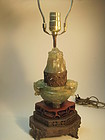 A Beautiful Old Chinese Green Quartz Lamp