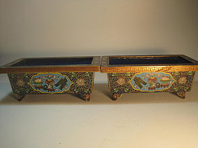 A Pair of  Antique  Chinese Cloisonne Enamel  Planters