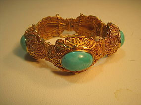 A Beautiful Vintage Chinese Silver Vermeil Bracelet