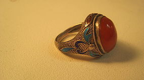 Vintage Chinese Silver Enamel Carnelian Ring