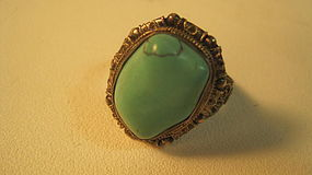 Vintage Chinese Silver Turquoise Ring Marked