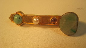 Vintage Chinese Silver And Jade Ruyi Brooch