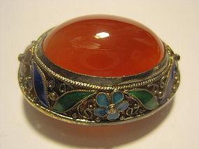 A Chinese Vintage Silver Enamel Carnelian Brooch