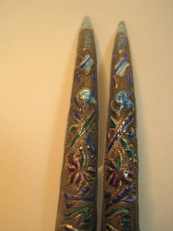 Pair of Chinese Qing Dynasty Silver Enamel Nail Guard