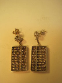 Early 20th C. Chinese Silver Abacus Earrings