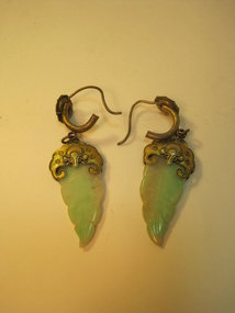 A Pair of Old Chinese Silver & Jadeite Earrings