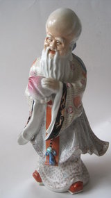 Late 19th C. Chinese Famille Rose Longevity Figurine