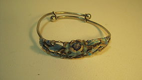 Late 19th C. Chinese Silver Enamel Bangle Marked