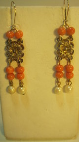 A Pair of Vintage Italian Coral & Pearl Silver Earrings