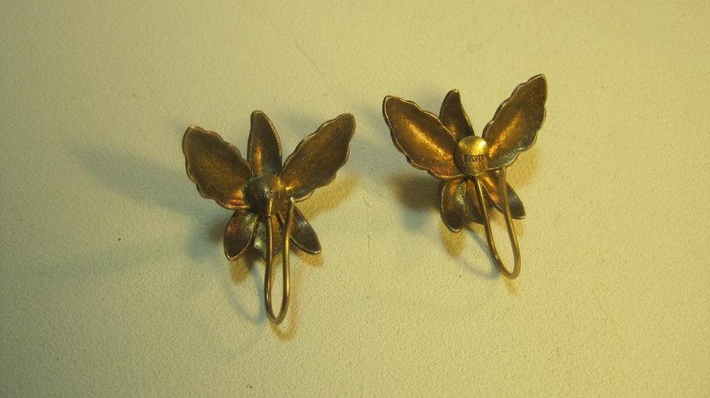 A Pair Of Vintage Chinese Silver & Enamel Earrings MK