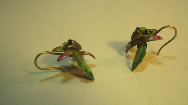 A Pair Of Vintage Chinese Silver & Enamel Earrings MK