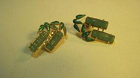 A Pair of Vintage Chinese Silver & Jade Earrings