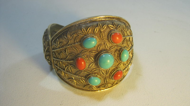 Chinese Silver Gold Washed Coral & Turquoise Bracelet