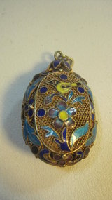 A Beautiful Old Chinese Silver Enamel Oval Pendant