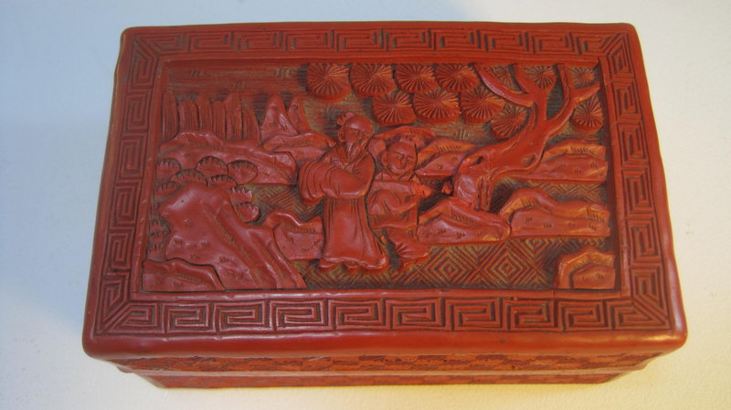 Late 19th C. Chinese Carved Cinnabar Red Lacquer Box