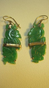 Beautiful Vintage Chinese Jadeite 14K Earrings