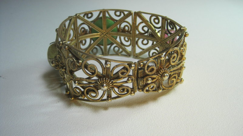 Late 19th C./20th C, Chinese Silver Bracelet W. Jadeite