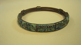 Late 19th C. Chinese Silver Enamel Rattan Bangle MK