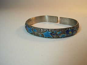 An Old Beautiful Chinese Silver Enamel Bangle Marked