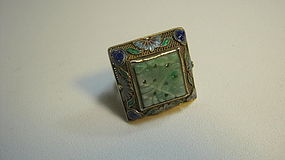 Early 20th C. Chinese Silver Enamel Ring With Jade MK