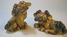 Pair of Old Chinese Famille Rose Porcelain Lions Dogs