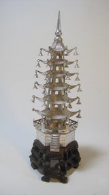 Early 20th C. Chinese Export Silver Pagoda Signed