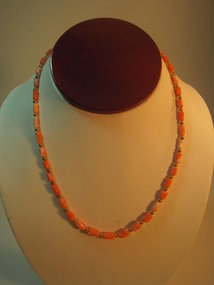 Vintage Chinese Salmon Coral Beads Necklace