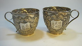 A Pair Of Early 20th C. Chinese Export Silver Cups