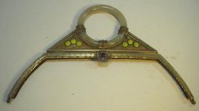 Vintage Chinese Jade & Enamel Metal Handbag Handle