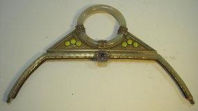 Vintage Chinese Jade & Enamel Metal Handbag Handle