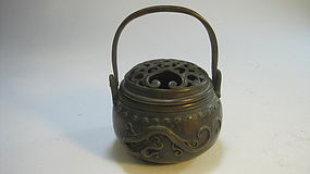 A Beautiful Late 19th C. Chinese Bronze Hand Warmer