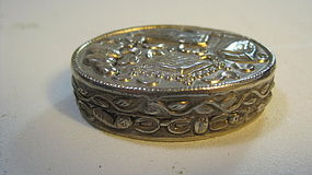 Beautiful Early 20th C. Chinese Silver Pill Box Marked