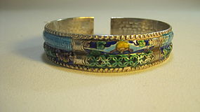 Late 19th/20th C. Chinese Silver Enamel Bangle Signed