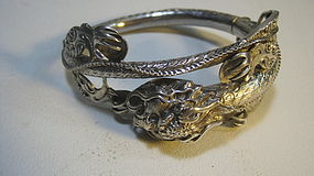 A Beautiful Old Chinese Silver Dragon Bangle