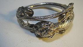 A Beautiful Old Chinese Silver Dragon Bangle
